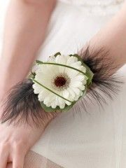 White Germini and Feather Wrist Corsage