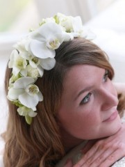 White Orchid and Rose Headband